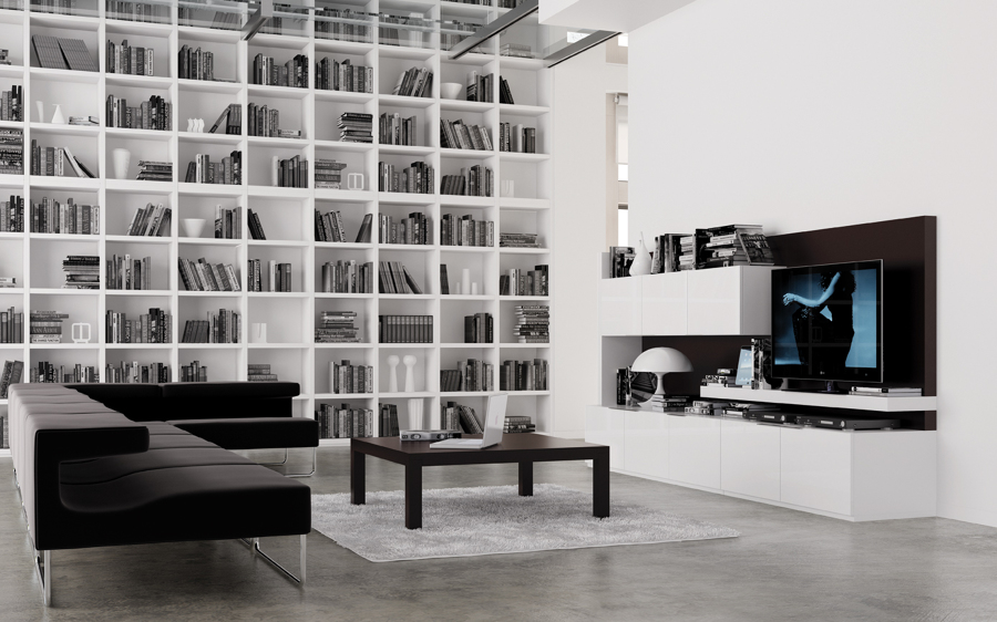 Foto composici n librer a sal n de for Librerias salon modernas