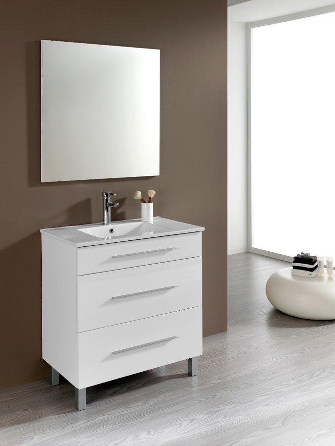 Foto conjunto mueble de ba o aris 80 cm tres cajones for Muebles de bano zaragoza