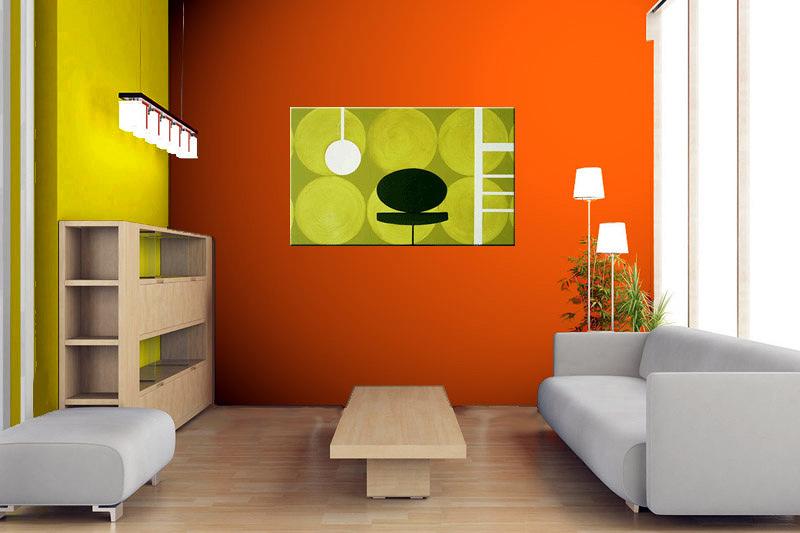 Cuadro estilo retro en tonos verde