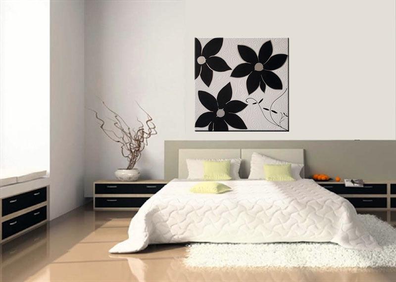 Cuadro flores en negro y plata