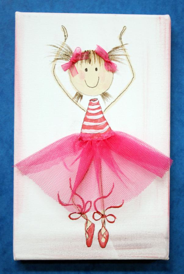 Foto cuadro infantil de bailarina pintado a mano de - Cuadros pintados a mano online ...