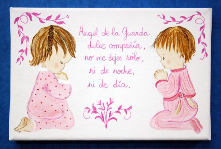 Foto cuadro infantil pintado a mano del ngel de la - Cuadros pintados a mano online ...