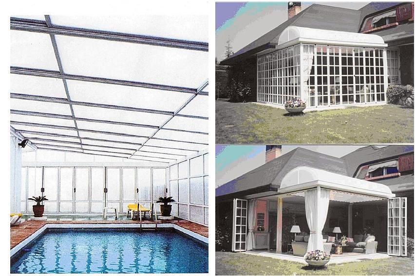 Foto cubierta de piscinas y porche con paredes m viles for Piscinas plegables