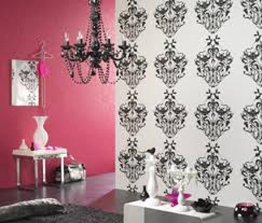 Foto decoraci n combinada pintura y papel de mart n - Papeles pintados en sevilla ...