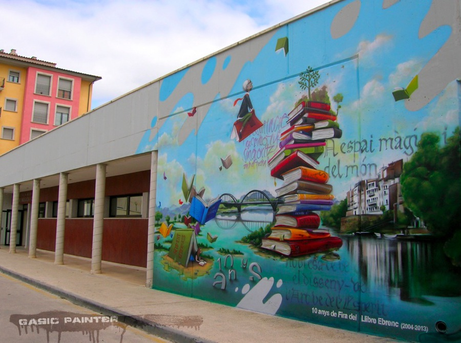 Foto decoraci n mural exterior biblioteca m ra d 39 ebre de for Como pintar un mural exterior