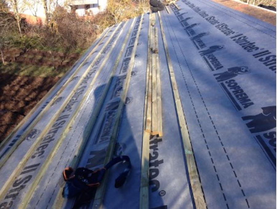 Día 5, protección de los paneles para colocación de teja