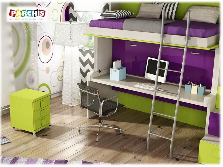 Foto muebles juveniles abatibles con dos camas de for Muebles parchis