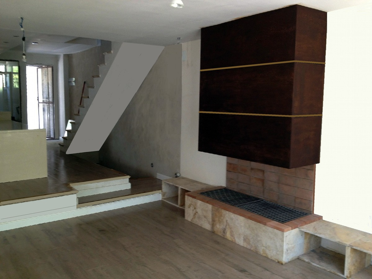 Diseño de comedor y office de cocina, suelos, paredes, techos, chimenea de diseño a medida en hierro y incrustaciones de madera, y base de piedra natural oro viejo.