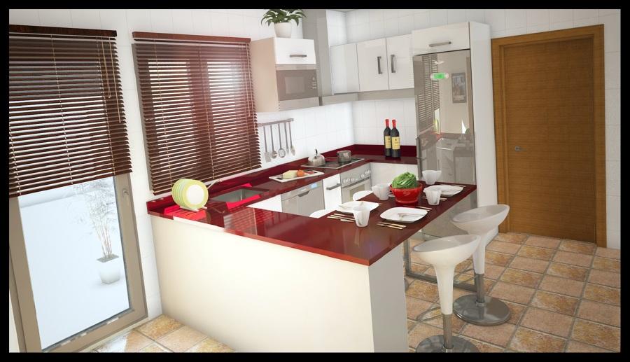 Foto dise o en 3d de cocina con barra americana de girubi - Diseno de barras para cocina ...