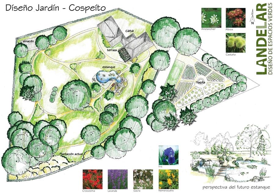Diseño de un jardin con estanque en Cospeito