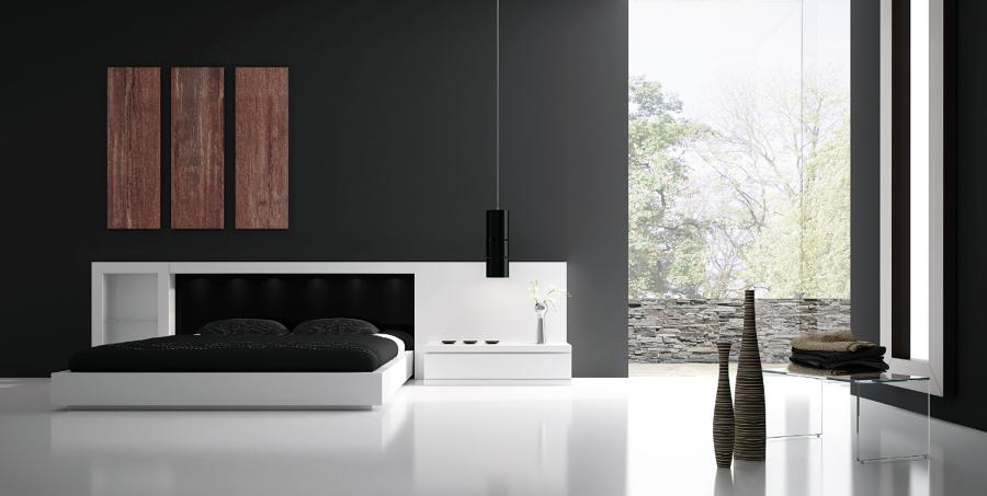 Dormitori Area lacat blanc mate/trassera negre
