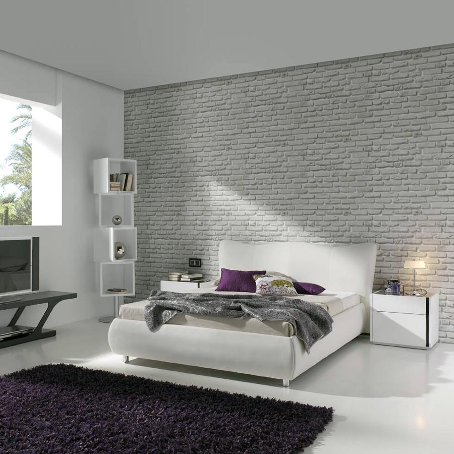 Foto dormitorio cama tapizada de muebles paco caballero - Papel pintado dormitorio principal ...