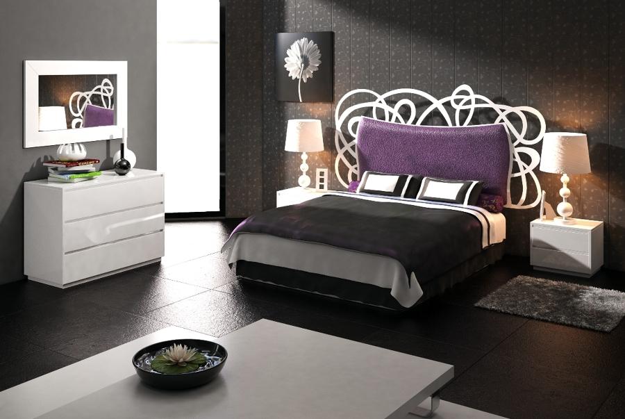 Dormitorio GENOVA con cabecero de cama en forja y tapizado
