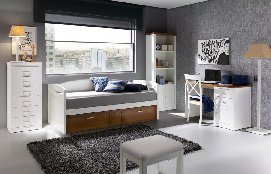 Dormitorio juvenil con cama nido y escritorio rachael - Dormitorio juvenil con escritorio ...
