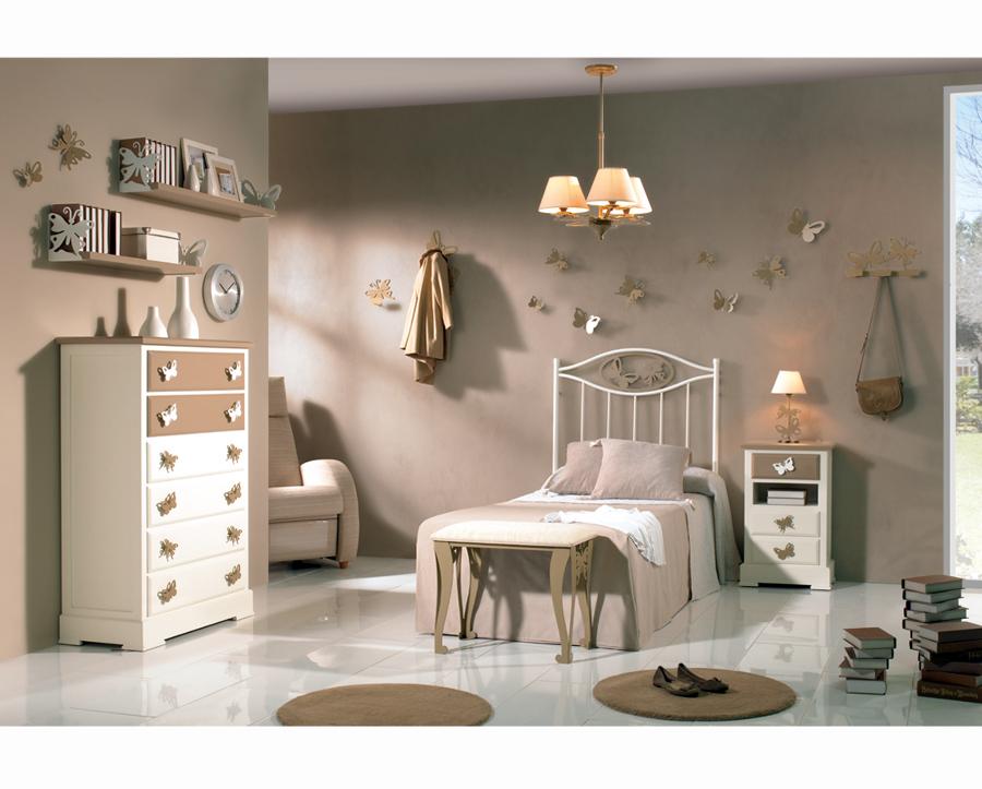 Dormitorio Juvenil / Infantil FANTASIA con cabecero de cama en forja