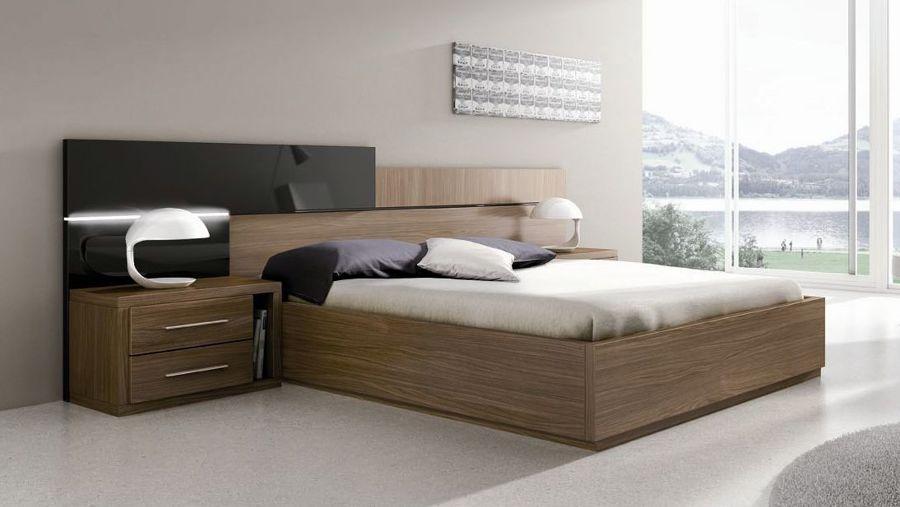 Foto dormitorio moderno con leds en cabecero de mobles - Dormitorios de madera modernos ...