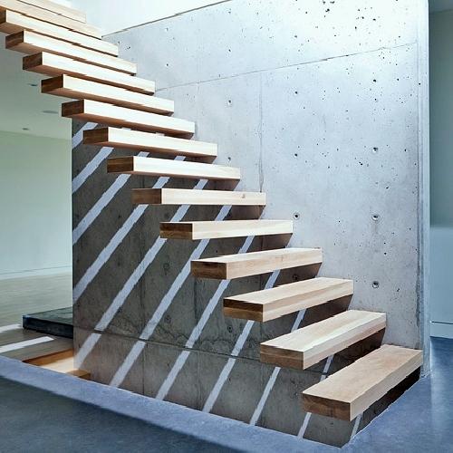 Foto ejemplo escalera muro hormig n de arquitecto for Armar escalera metalica