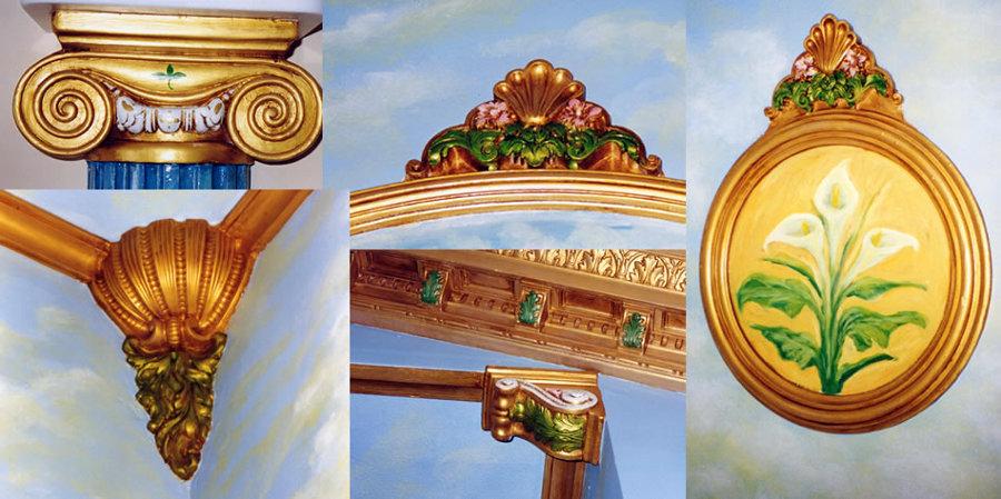 Elementos decorativos en espacios religiosos, tratamiento de policromía, ménsulas, molduras, rosetones, etc...