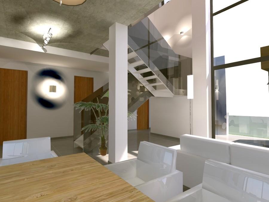 Foto escalera met lica vivienda unifamiliar serra de for Escaleras de viviendas