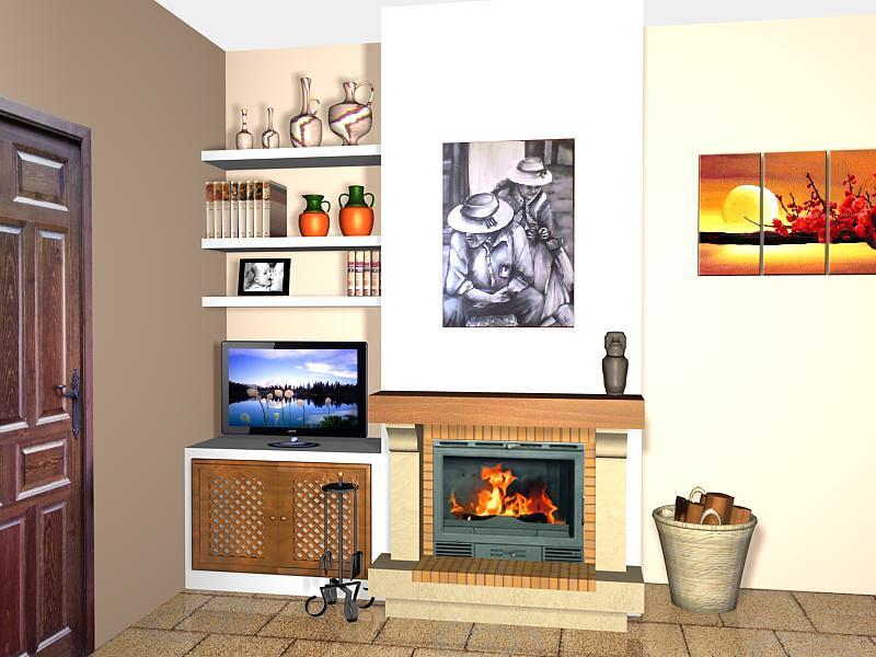 Foto estanter as de pladur y chimenea de decopladur - Muebles pladur fotos ...