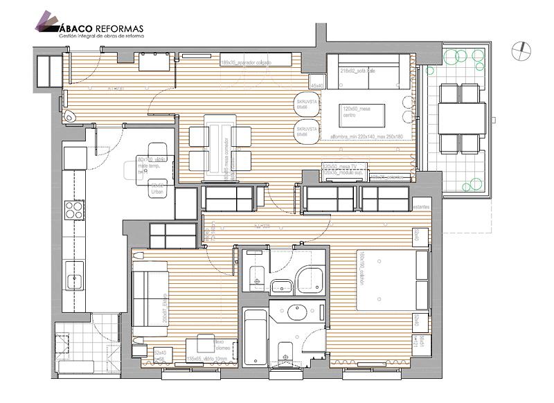 Estudio de distribución interior y amueblamiento de vivienda
