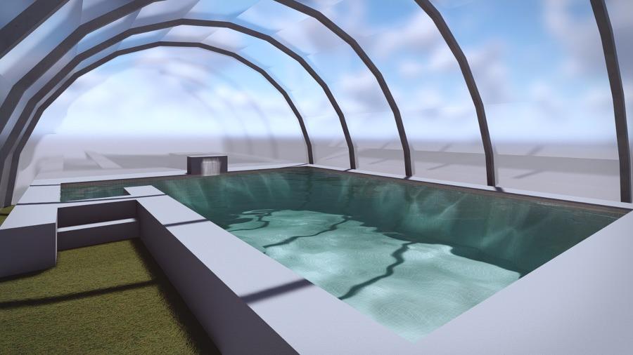 Foto dise o 3d piscina con cubierta de piscinia sevilla for Programa diseno de piscinas 3d gratis