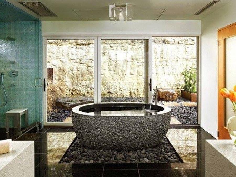 Bañera de piedra natural tallada