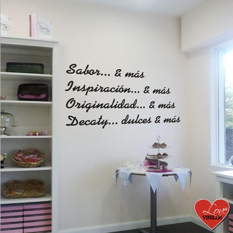 Foto vinilos decorativos para negocios de lovevinilos for Frases en vinilo para dormitorio