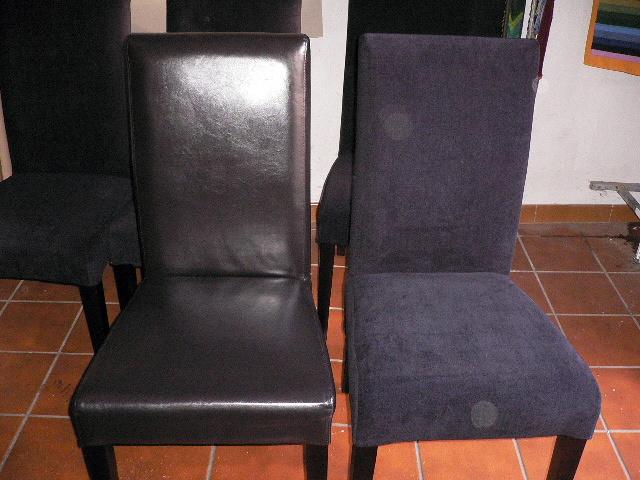 Foto funda para sillas en piel de marley tapizados for Fundas sillas conforama