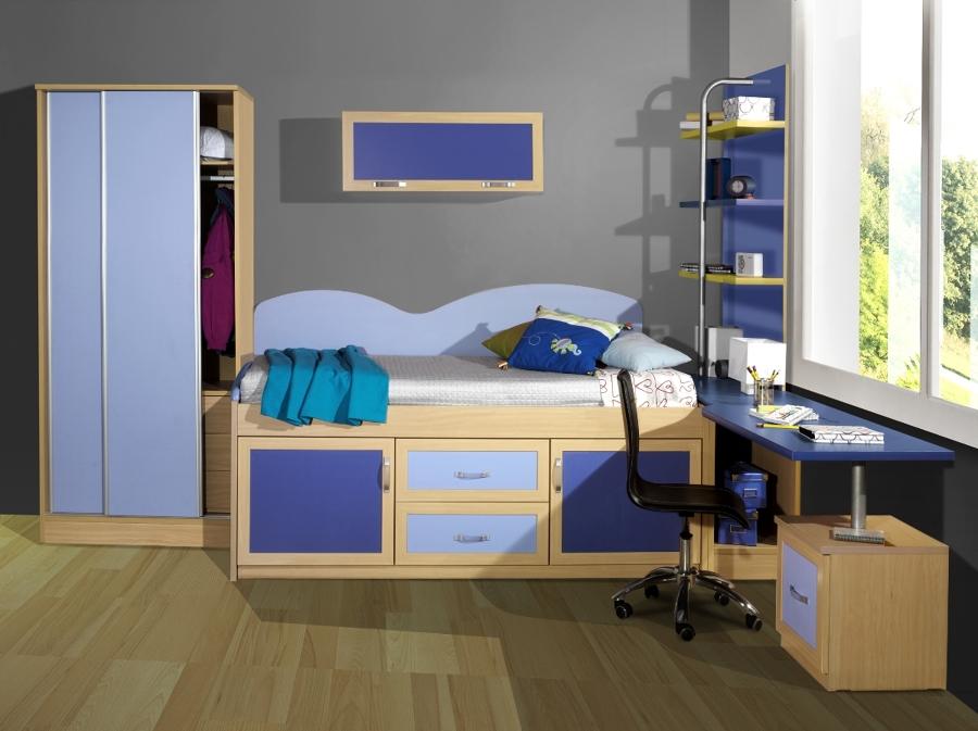 Foto habitaci n color haya azul claro y oscuro de sacoba - Color habitacion juvenil ...