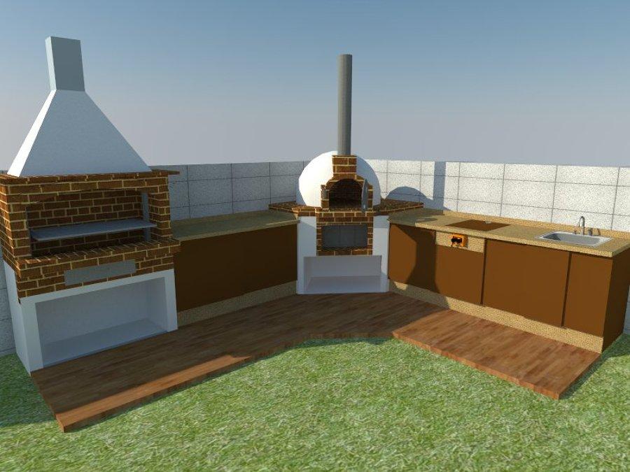 Foto dise o de horno de le a y barbacoa con mueble bajo de cocina en 3d modelo david de - Horno de lena y barbacoa ...