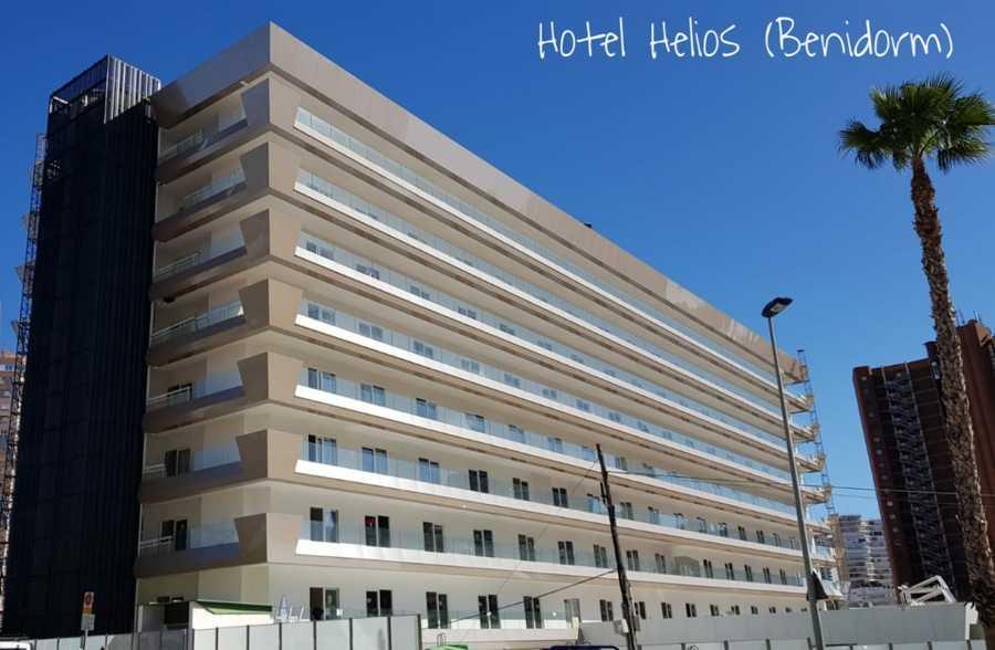Reforma de fachada, terrazas y recepción en Hotel Helios Benidorm.