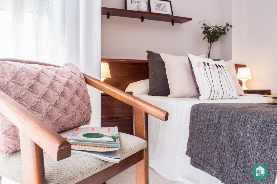 detalle dormitorio después de estilismo y Home Staging