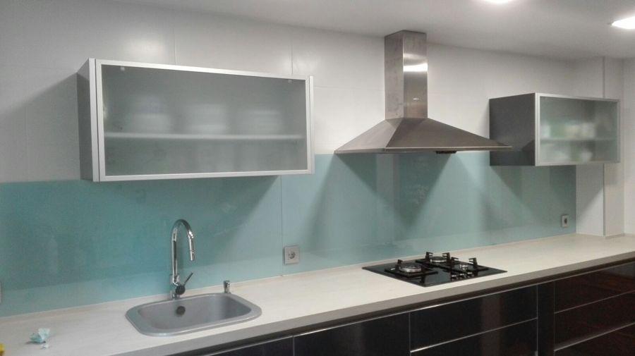Foto aplacado cocina frontal vidrio lacado xirivella - Cristal templado cocina precio ...