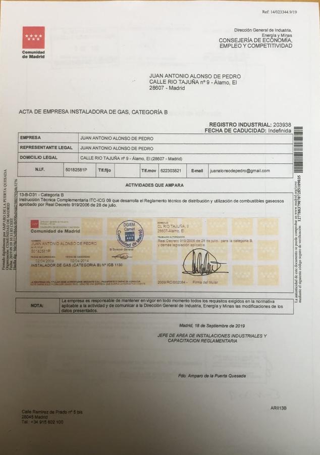 certificado instalador de gas