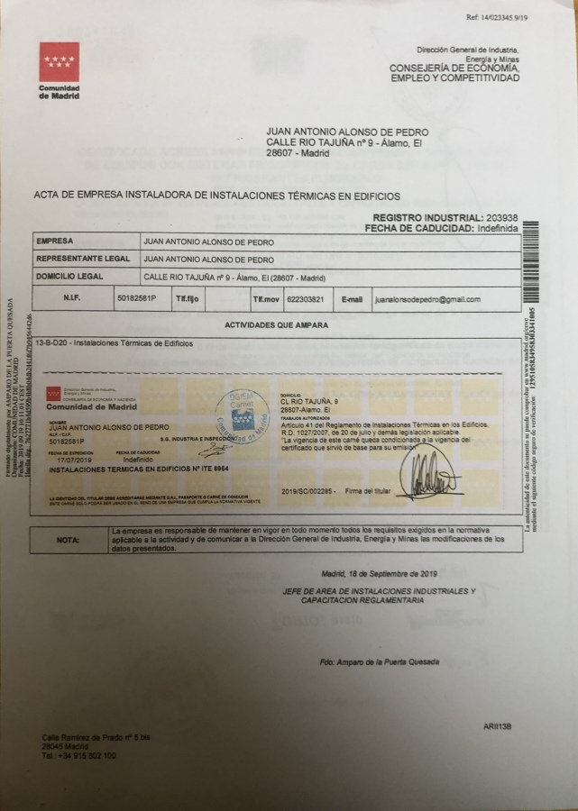 certificado instalador RITE