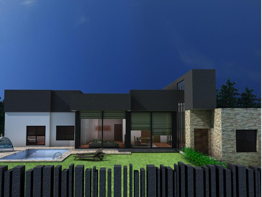 infografía unifamiliar con jardín y piscina