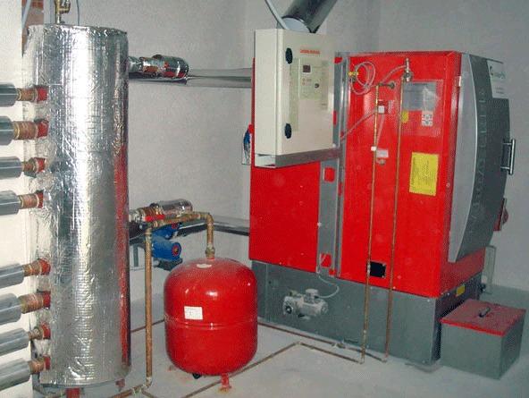 Instalación caldera biomasa completa