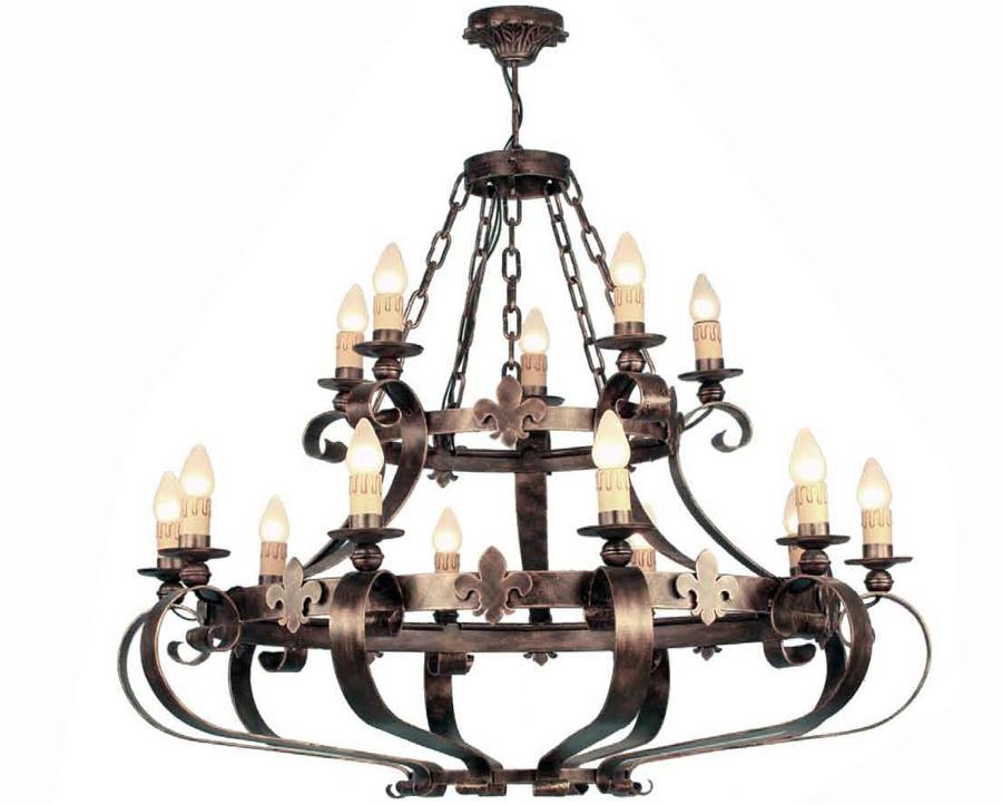Foto lampara en forja de 15 luces de cosmobili 193452 - Lamparas lucena ...