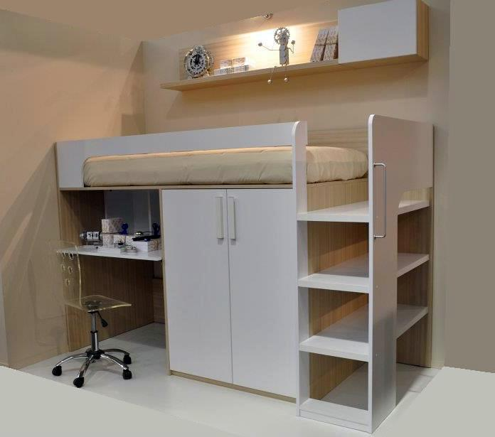 Foto litera juvenil con armario y escritorio de mobles - Litera con escritorio debajo ...