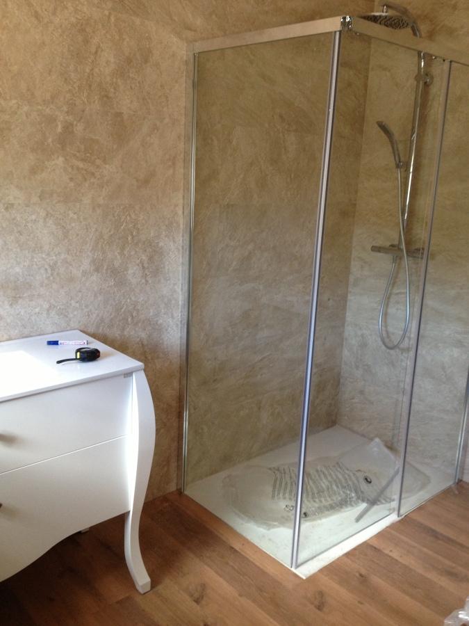 Foto mampara cristal y mueble de ba o de fongar 678310 - Muebles de bano en leon ...