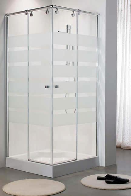 Foto mampara de ducha cuadrada con serigrafia de - Fotos de mamparas de ducha ...