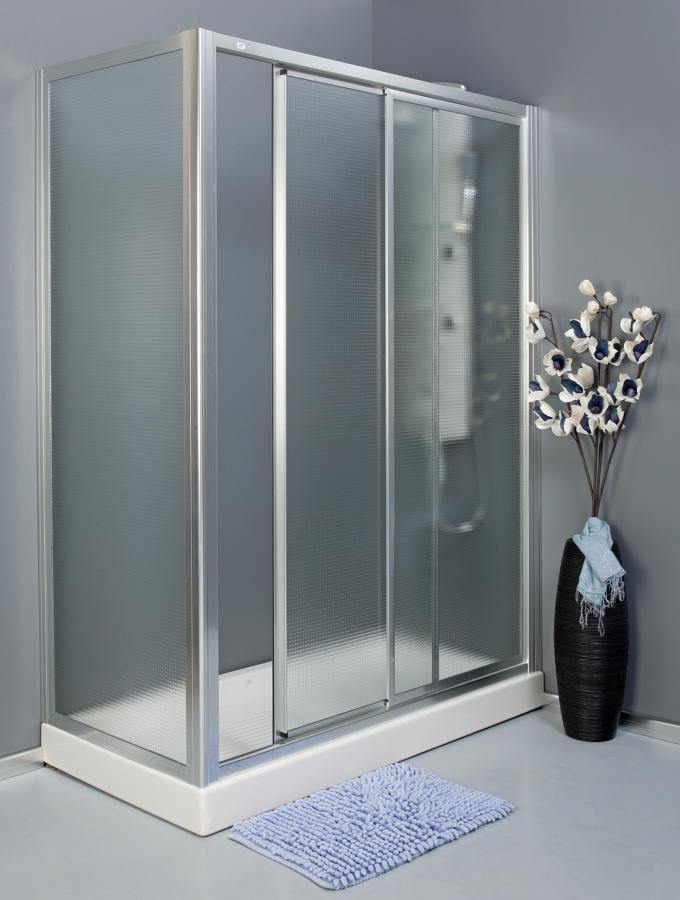 Foto mampara ducha 1 hoja corredera mas 2 hojas fijas de - Fotos mamparas de ducha ...