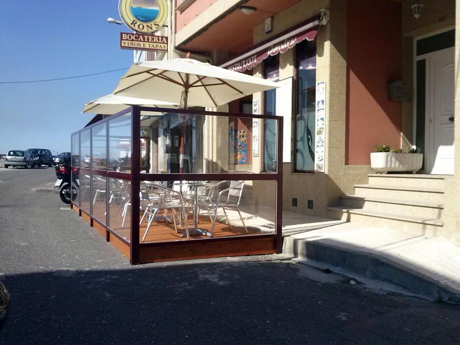 Foto mampara para cierre de terraza en aluminio lacado for Cierres de aluminio para terrazas