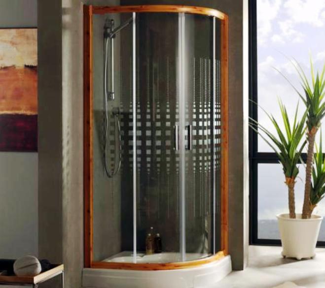 foto mampara semicircular de ducha en color madera de