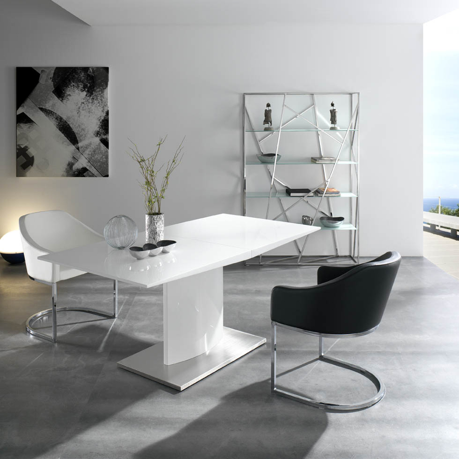 foto mesa comedor extensible lacado blanco de muebles. Black Bedroom Furniture Sets. Home Design Ideas