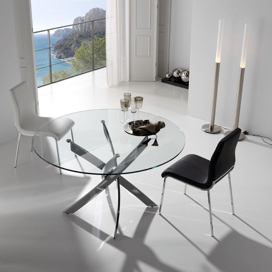 Foto mesa comedor redonda cristal de muebles paco for Mesas de comedor cristal transparente