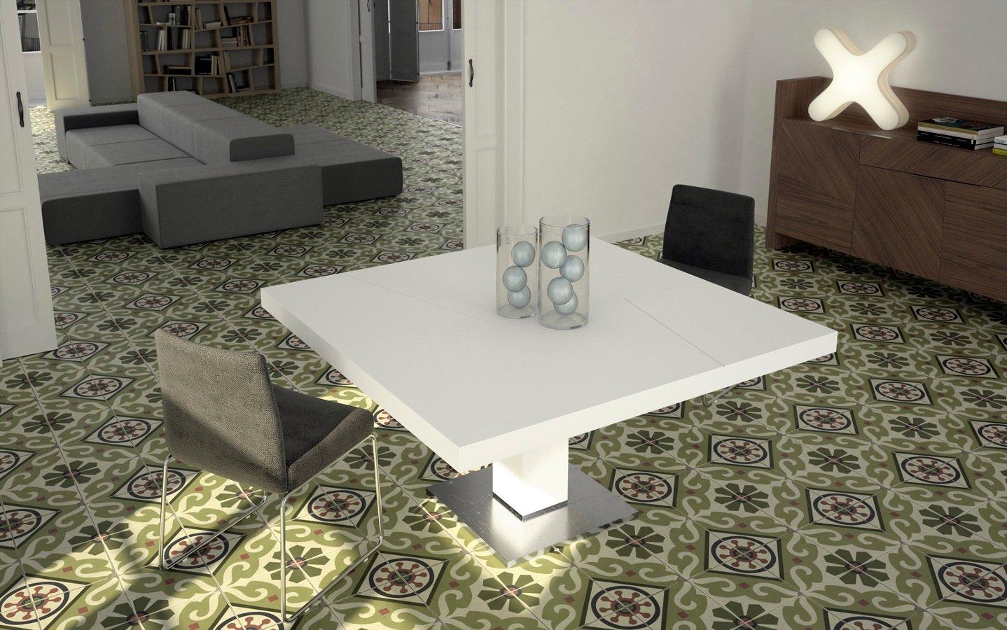 Foto mesa cuadrada en laca blanca y acero de decorliving for Mesa cuadrada blanca