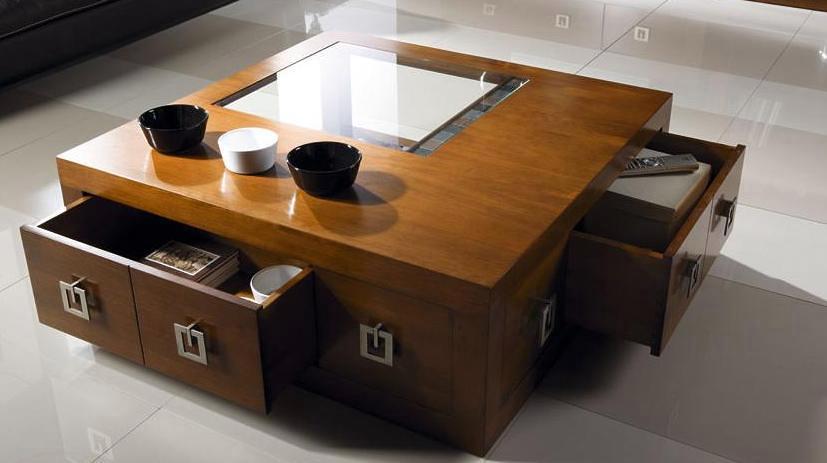 Foto mesa de centro de madera con cajones de mobles for Mesa con cajones para cocina