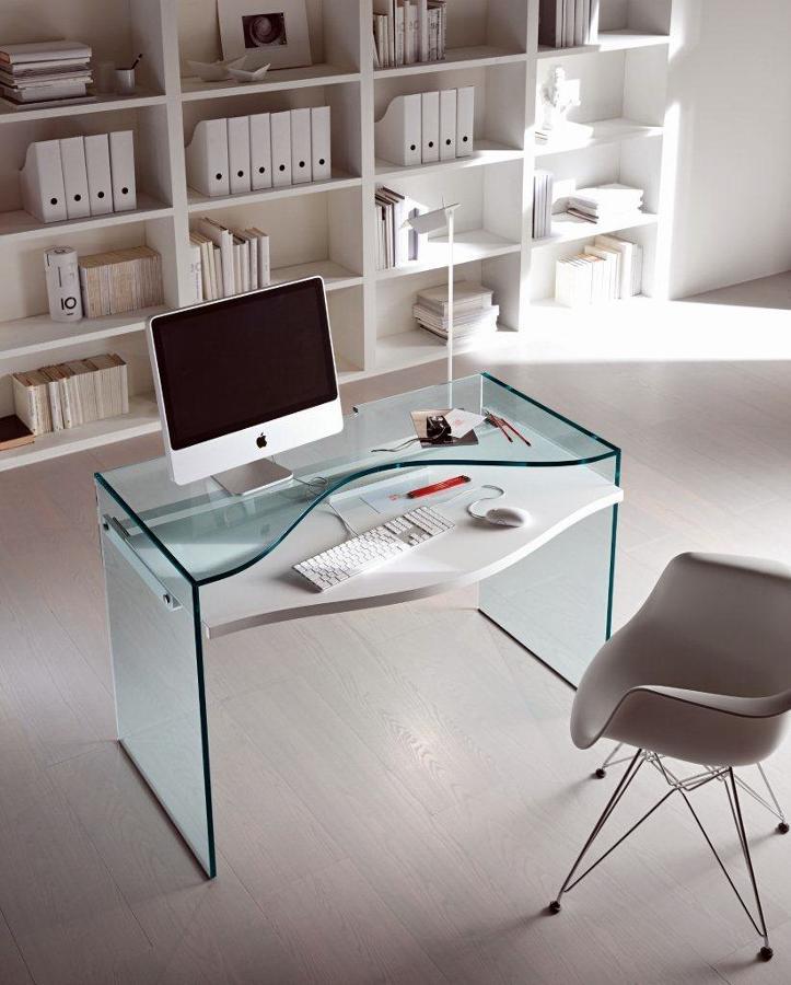 Foto mesa de ordenador totalmente de cristal for Mesa ordenador cristal
